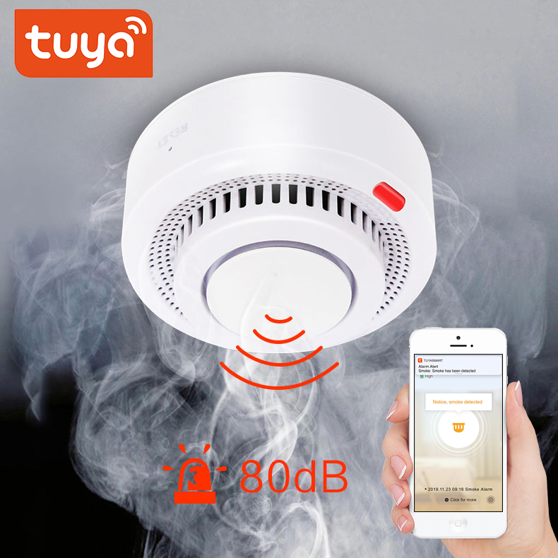 Tuya Wifi Smoke Detector Smoke WiFi Smoke Alarm House Combination Fire Alarm Home Security System Firefighters  Fire Protection