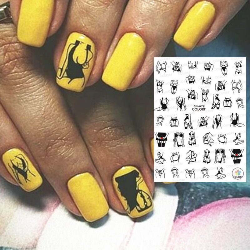 CA-614 FASHION Girl Series CA-509-510-511 DESIGNS COOL 3d Nail Art Stickers Decal Template Diy Nail Tool Decorations