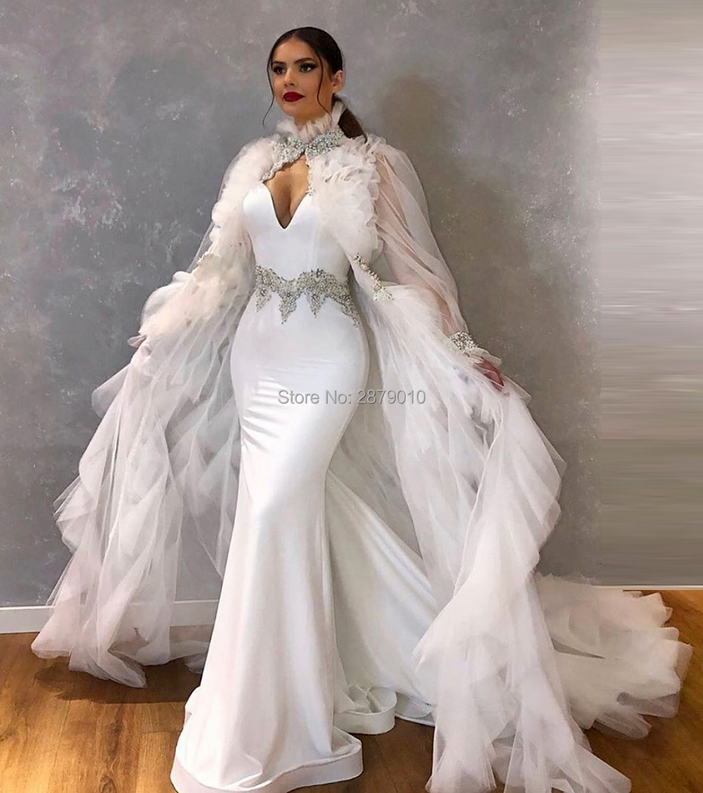 Muslim White Cape Mermaid Evening Dress V-Neck Floor-Length Beaded Prom Dress Robe De Soiree Aibye Middle East Arabia Dubai