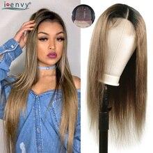 Uzun brezilyalı düz Ombre dantel kapatma İnsan saç peruk 180 yoğunluk 1B kireç yeşil peruk siyah kadınlar için 4X4 dantel peruk olmayan remy
