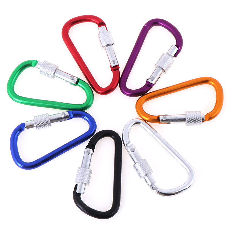 2pcs Aluminum Carabiner Keychain Outdoor Camping Climbing Snap Clip Lock Buckle Hook Tool