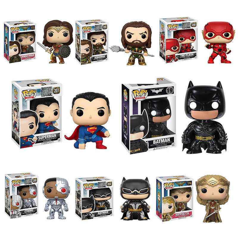 Funko Pop Superman Justice League The Flash Seta Aquaman Bruce Wayne 2019 Anime Crianças Bonecos de brinquedo