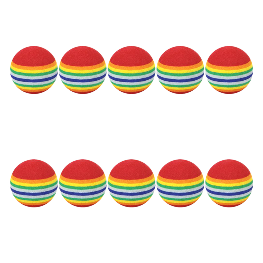 10pcs 35mm 38mm42mm EVA Foam Soft Rainbow Stripe Golf Training Balls Swing Golf Club Beginner Practice Training Aids Ball Indoor