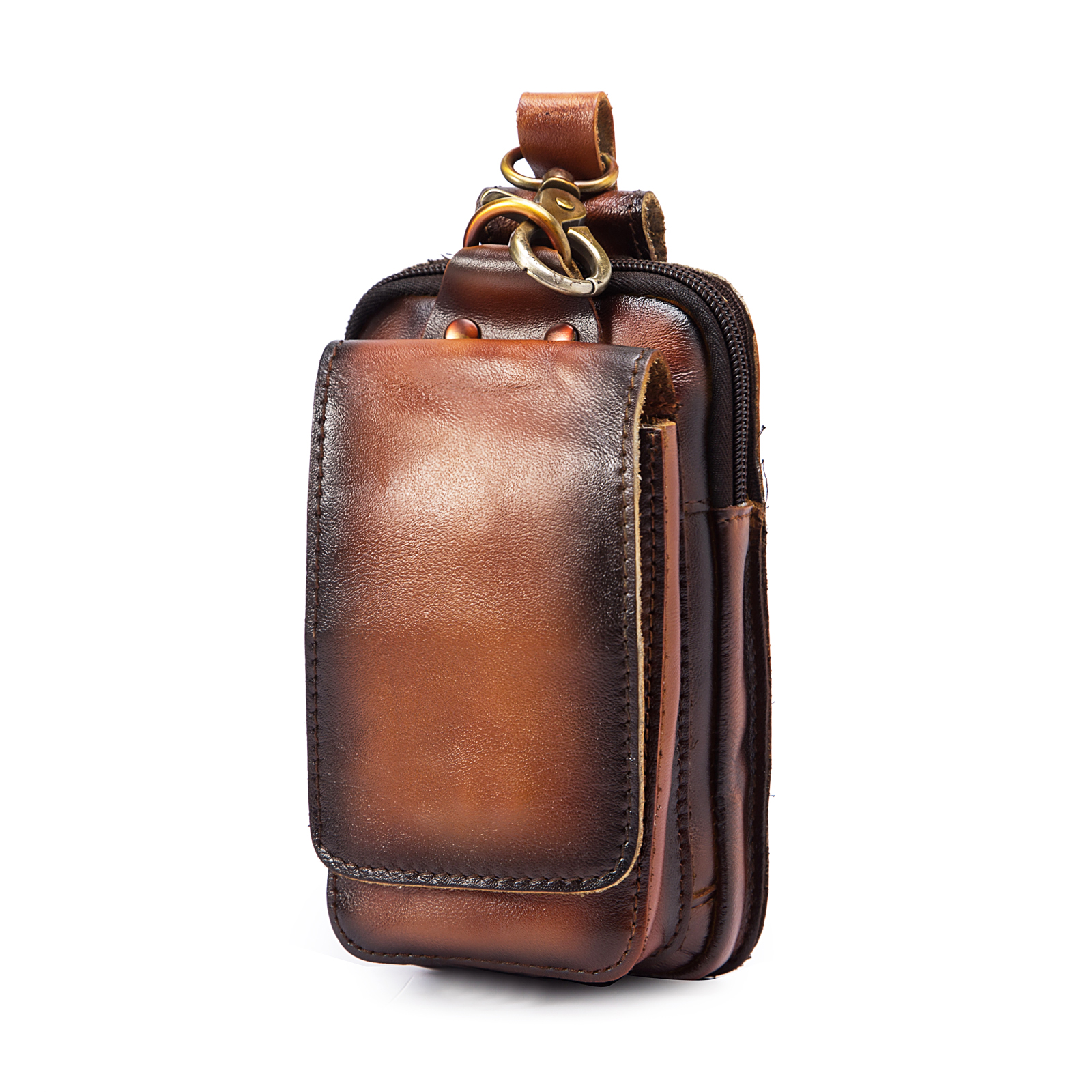 Original Leather Men Casual Design Cowhide Fashion Small Hook Bum Bag Waist Belt Pack Cigarette Case 6