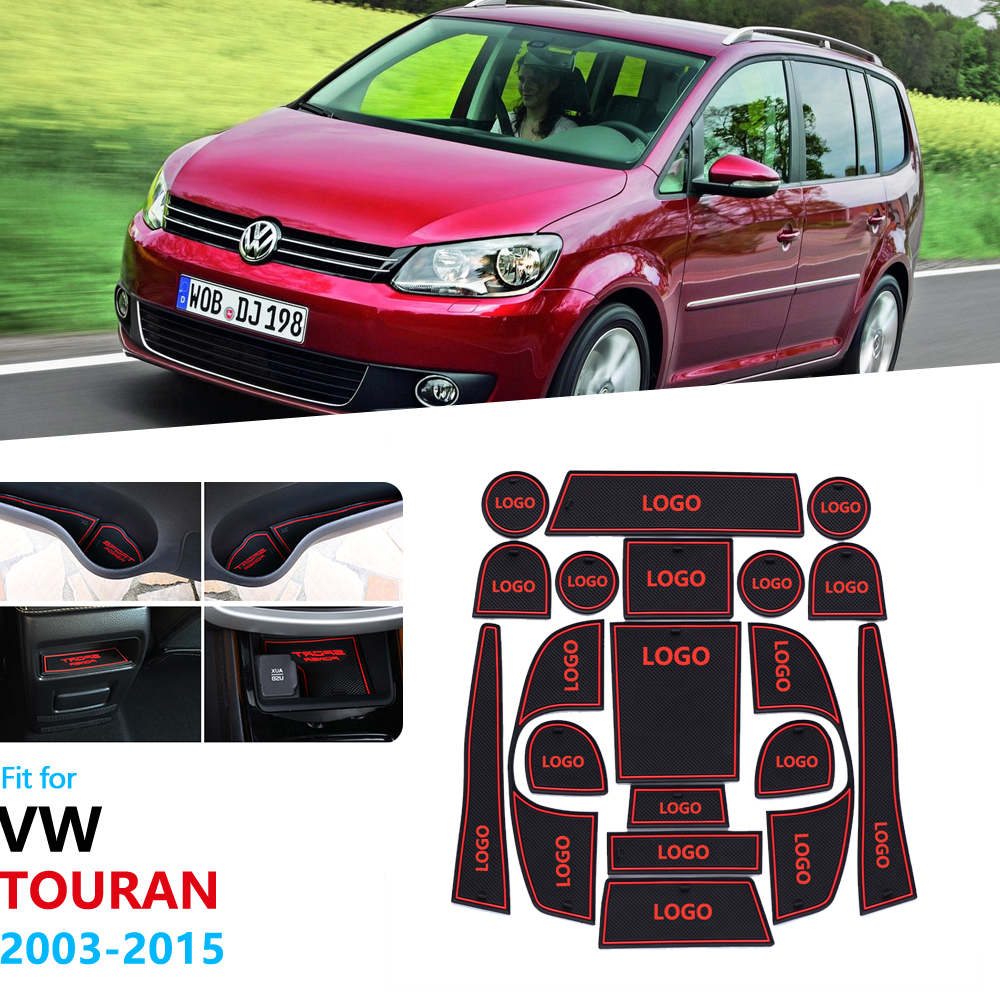 Anti-Slip Rubber Gate Slot Cup Mat For Volkswage VW Touran MK1 2003 2004 2006 2008 2009 2010 2011 2014 2015 Car Accessories