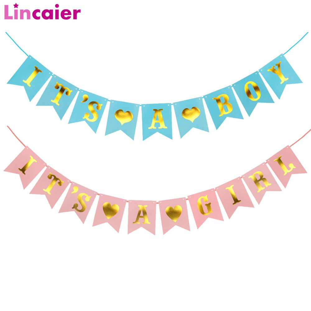 Lincaier Its A Boy Girl Kraft Paper Banner Baby Shower Party Decorations Garland Babyshower Gender Reveal Supplies