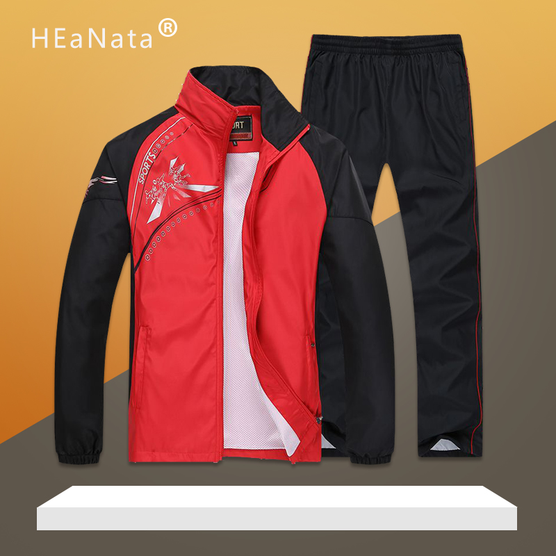 Men Sport Suits Gym Sets 2019 Spring Running Sets Men Sportwear Jogging Fitness Training Suits Warm Running Sport Tracksuits Man