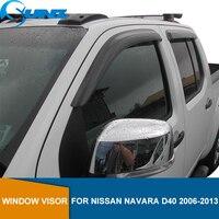닛산 Navara D40 용 사이드 윈도우 디플렉터 2006 2007 2008 2009 2010 2011 2012 2013 2014 날씨 실드 윈도우 바이저 SUNZ