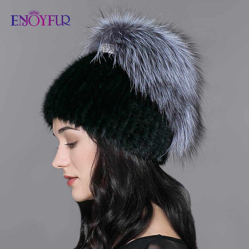 Женская вязаная русская шапка ENJOYFUR, теплая шапка бини из натурального меха норки и чернобурки на зиму