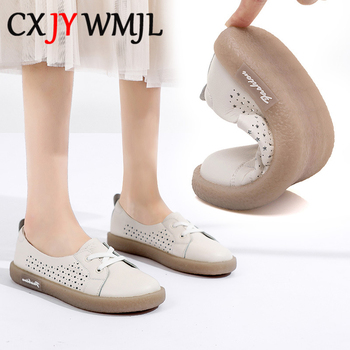 Summer Genuine Leather Casuals Women's Flats Retro Tunnel Shoes Comfortable Vulcanized Shoe Hollow Breathable Maternity Shoes 41