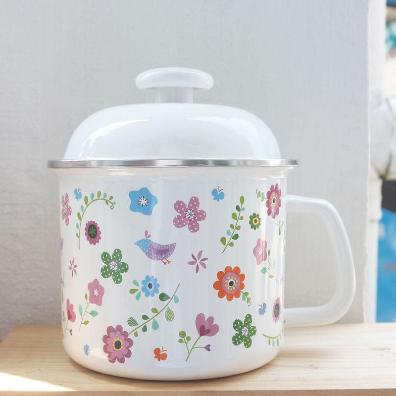 Milk Pot Soup Pot Enamel Pot Enamel Cup Water Cup 16cm Milk Cup 1.8L Instant Noodle Bowl Fresh Bowl Small Soup Pot Wok Ceramic