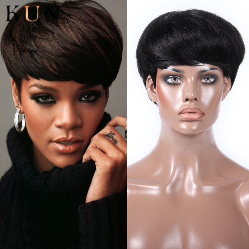 Pixie Cut Short Human Hair Wigs Star Style Straight 150 Density None Lace Wig Pre Plucked For Women Brazilian Remy Glueless Wig