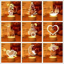 Christmas 3D Acrylic Tree Elk Night Lights Christmas Decorations for Home Santa Claus Xmas Desk Lamp Kids Gift for New Year 2022