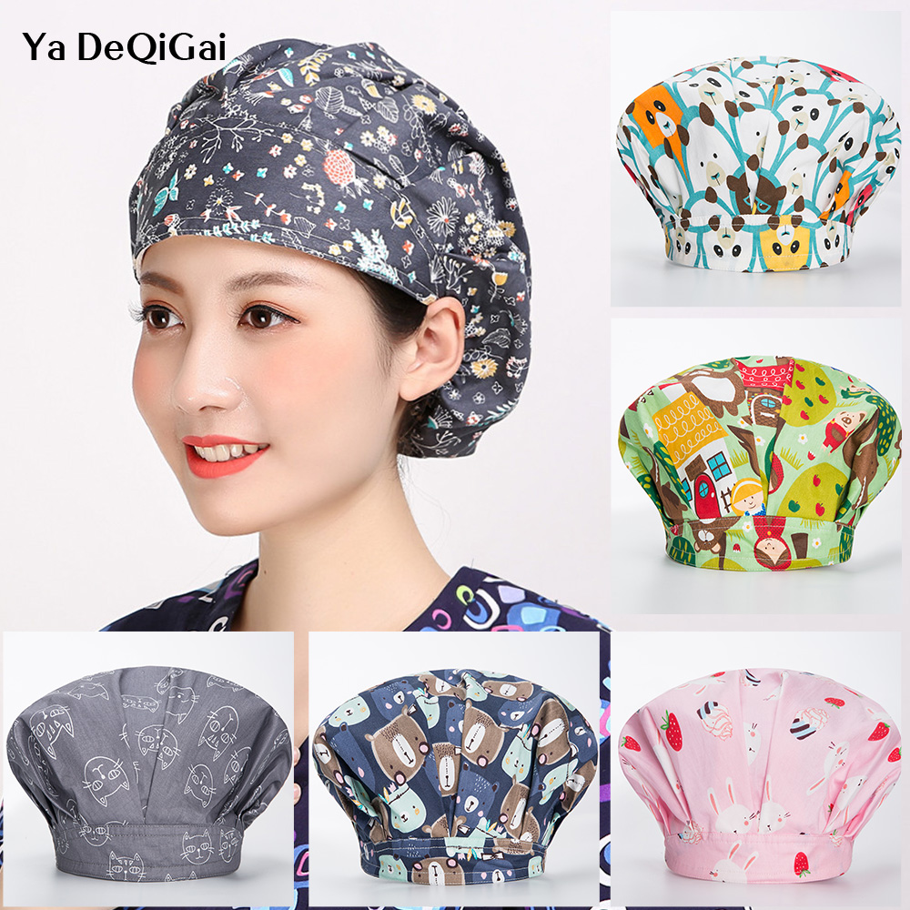 Medical Surgical Caps Women Surgery Scrubs Printing Hat Pet Hospital Nursing Caps Doctor Pharmacist Spa Beauty Salon Working Hat