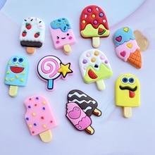 10 New Cute Cartoon Ice Cream Soft Rubber Series Flat Bottom DIY Crafts Mobile Phone Case Accessories F79