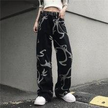Calças de brim femininas 2021 nova y2k harajuku streetwear cintura alta vintage baggy reta denim calças perna larga hip hop impressão