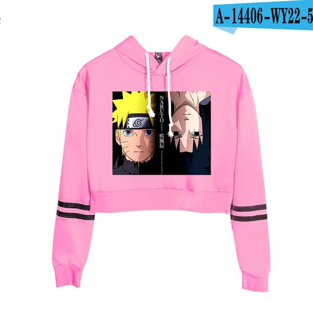 Now United Crop Top Hoodies Harajuku Japanese Anime Uzumaki Printed Hoodie Women Streetwear Fashion Cropped Sweatshirt Coat 16