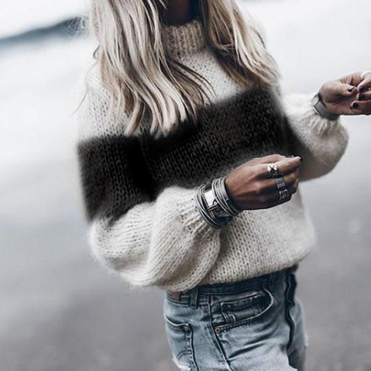 Long Sleeve Mohair Striped Sweater Women Pullovers 2019 Winter Autumn Casual Knitted Color Block Fuzzy Fluffy Sweater