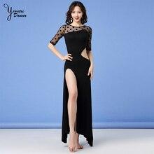 2020 New Belly Dance Practice Wear Waist Hollow High Quality Modal Sexy Dance Dress Long Spilt Black Red Half Sleeve Chiffon New