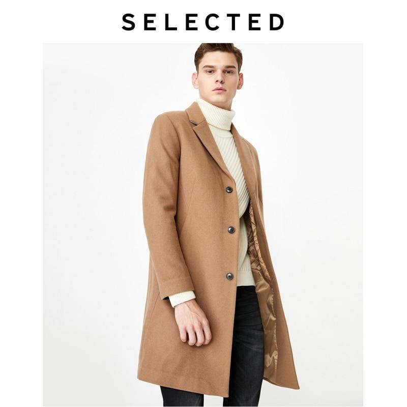 SELECTED Men's Woolen Blended Outwear Mid-length Wool Coat S|419427539