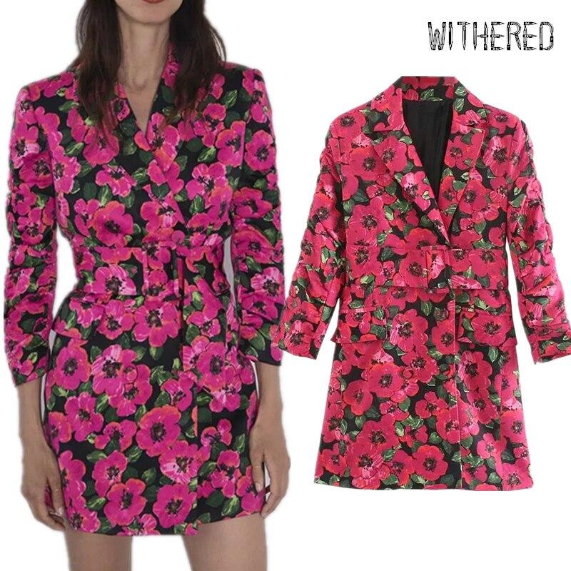 Withered England Vintage Floral Print Sashes Party Suit Dress Women Vestidos Vestidos De Fiesta De Noche Long Blazers Mini Dress