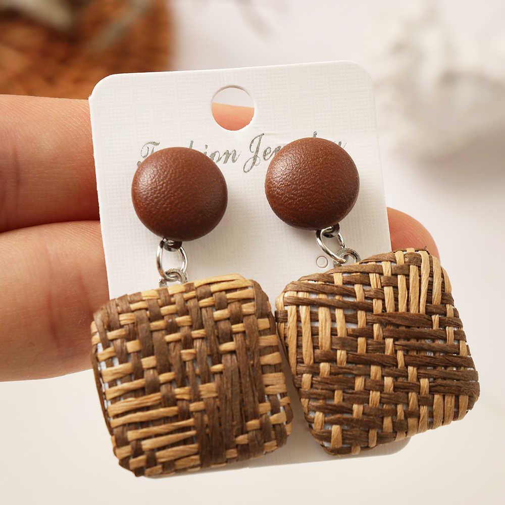 1 คู่ Handmade Bohemian ไม้หวายหวายฟาง Pendientes ยาวต่างหูไม้ Drop ของขวัญเครื่องประดับต่างหู