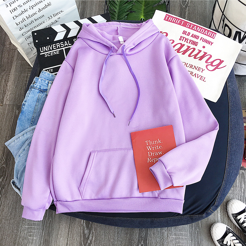 New Light Purple Hoodie Korean Style Loose-fitting Top Winter Women 's Hoodies Full Sleeve Hoodie Sweatshirt Solid Color Hoodie