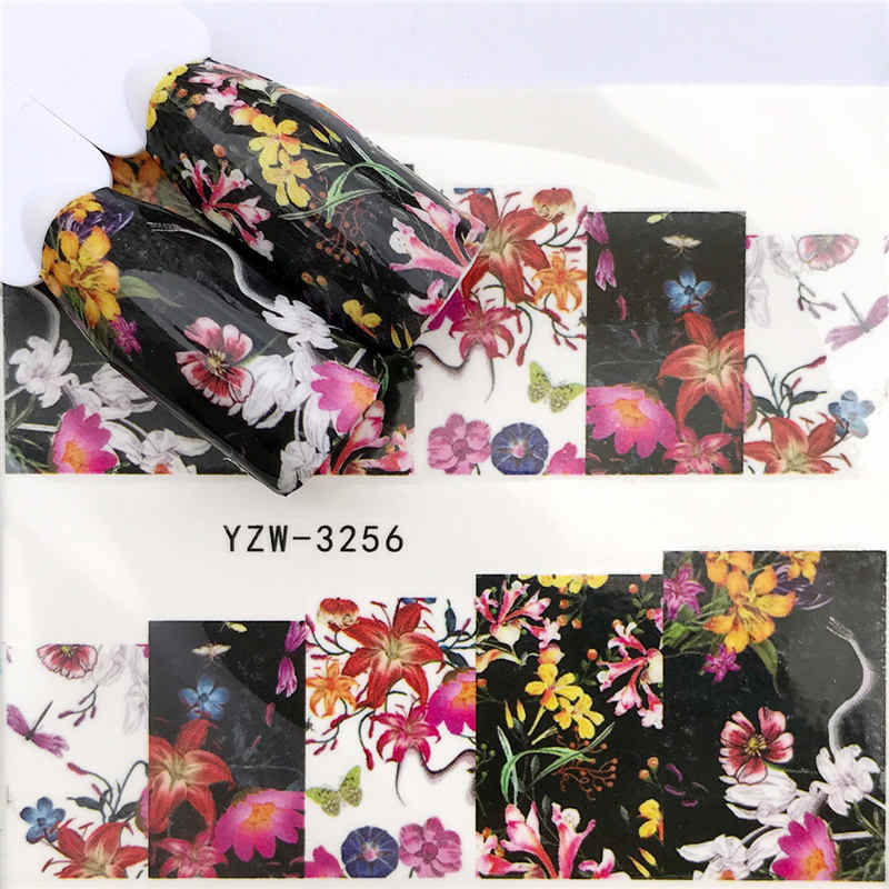 WUF 1 PC Black Flower / Flower Fairy Designs Water Transfer Sticker Nail Art Decals DIY Fashion Wraps Tips Manicure Tools