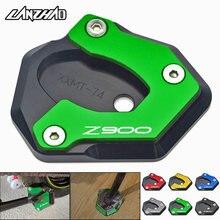 Z900 motocicleta suporte lateral ampliador kickstand ampliar placa cnc acessórios de alumínio para kawasaki z900 2017 2018 2019 2020