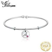 JewelryPalace Gepersonaliseerde Alfabet Beginletter EEN 925 Sterling Zilveren Dangle Charm Manchet Bangle Armband Voor Vrouwen 2018 Nieuwe