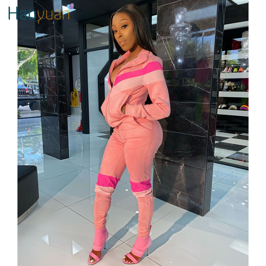 ZOOEFFBB Splice Two Piece Set Tracksuit Women Clother Long Sleeve Top And Bodycon Pants Sweat Suits 2 Pcs Outfits Matching Sets