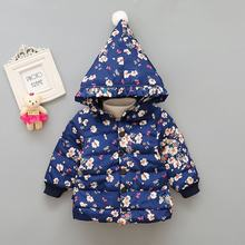 Baby Clothes Autumn Winter Girls Down Jacket Warm Hoodie Floral Print Jacket Outerwear Hooded Coat Snowsuit(China)
