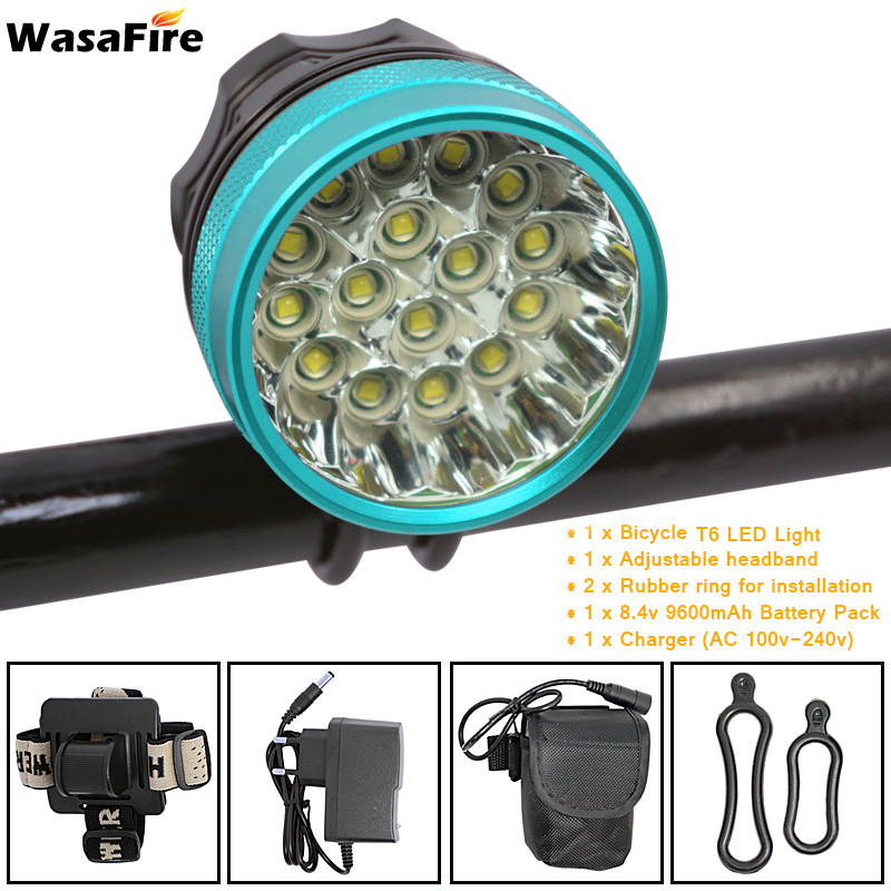 Wasafire Super Bright 40000 Lumen 16*T6 LED Bicycle Light Front Headlight Running Head Lamp For Camping Bicycle Riding Light