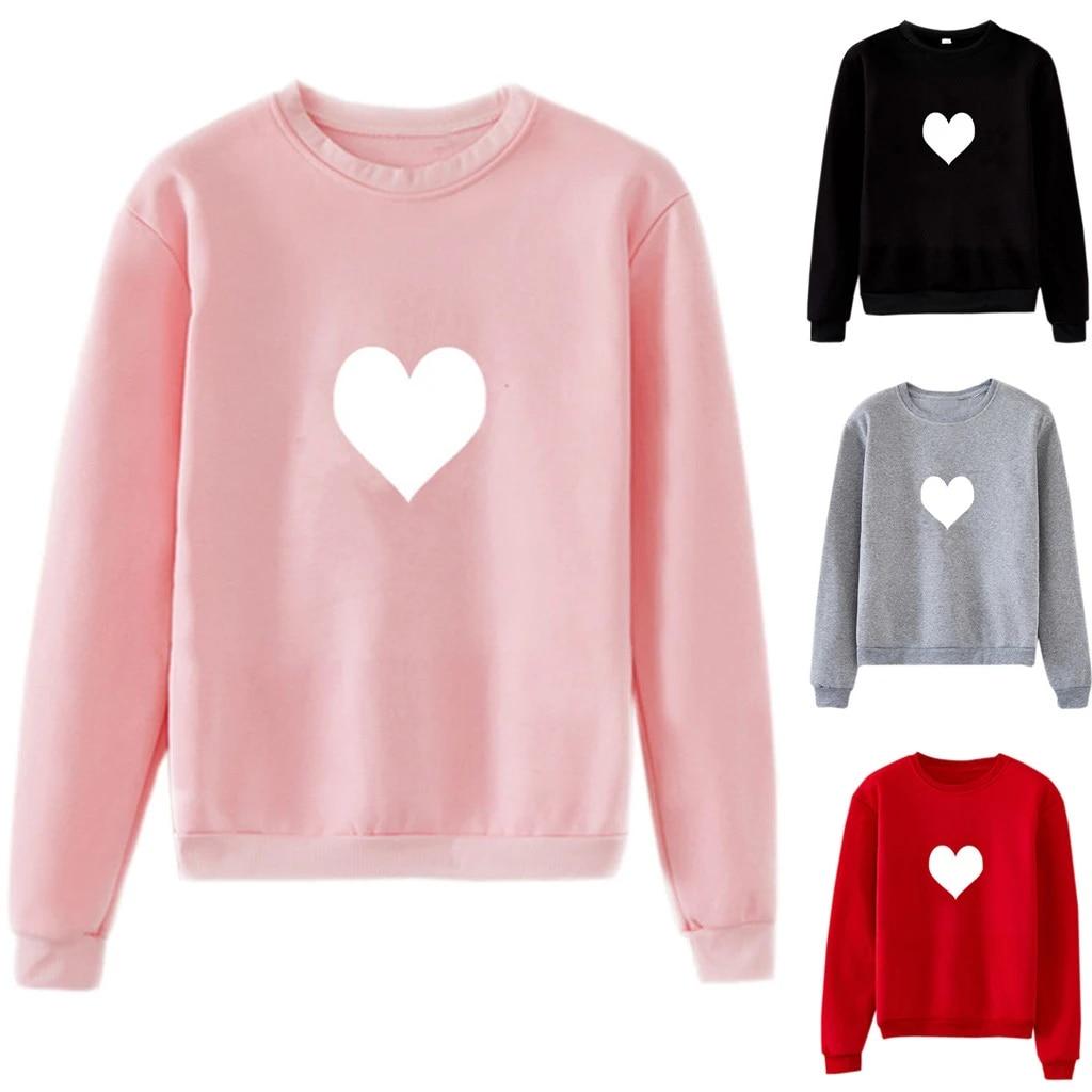 sheart 9 Men Women Couples Hoodie Sweatshirt Heart-Shaped Print Fall Hooded Pullover Long Sleeve Blouse Tops