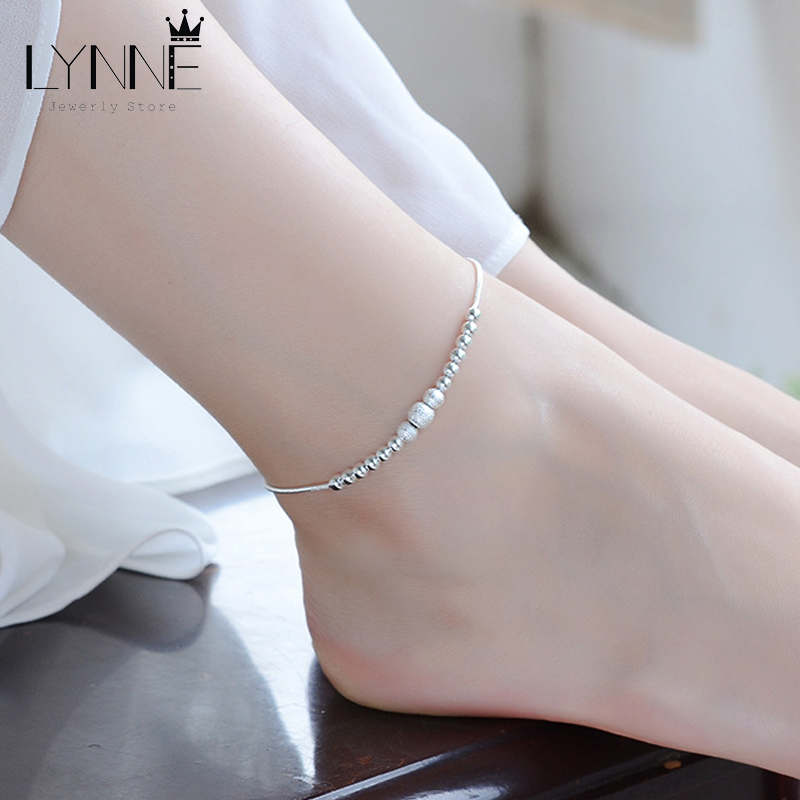 New Fashion Round Ball Beaded Anklet Foot Chain 925 Sterling Silver Frosted Beads Charm Anklets Bracelets For Women Jewelry Gift 1