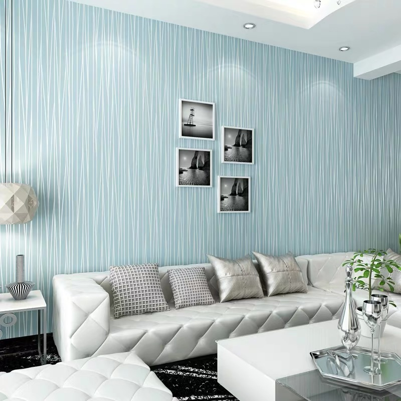 European Plain Modern Minimalist Non-woven Wallpapers Bedroom Textures Wall Paper Dining Room Hotel Striped Wallpapers Blue Roll