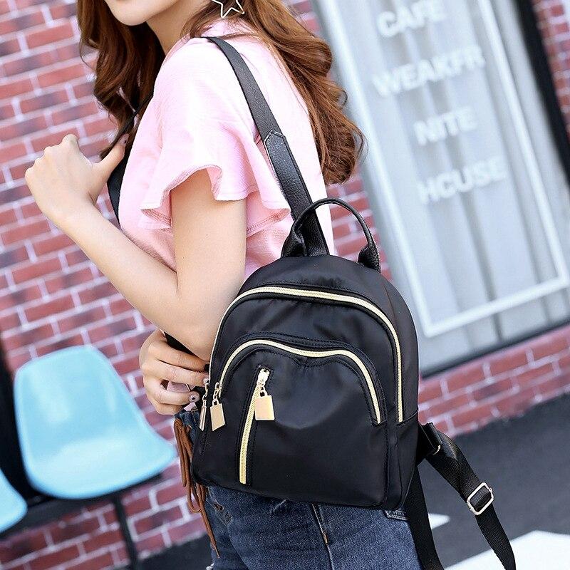 2020 New Women's Backpack Korean Version Of The Simple Student Backpack Waterproof Multi-pocket Travel Backpack Girl Pink Vs