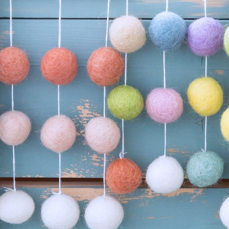 20mm 100% Nepal Wool Felt Ball Pom Pom Balls DIY Home Kids Room Decor Hanging Felt Wool Balls Handmade Crafts Accessories Toys