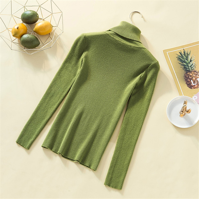 Knit Sweater Women Turtleneck Casual Pure Cashmere Pullover Autumn Winter Solid Long Sleeve Slim-jumper Soft Tops Pull Femme 2