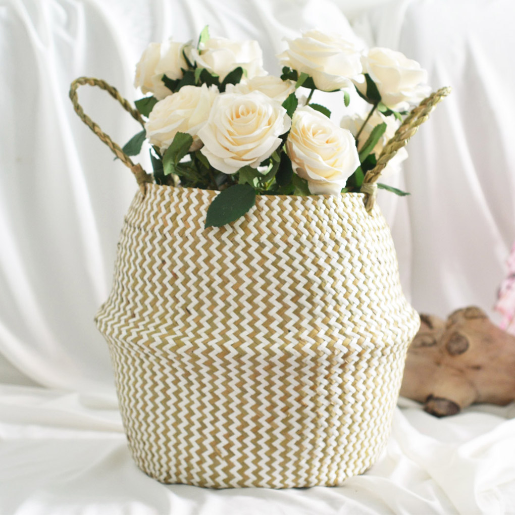 Foldable Storage Basket Seagrass Belly Basket Handles Laundry Storage Tote Home Toy Sundries Clothes Container Plants Pot