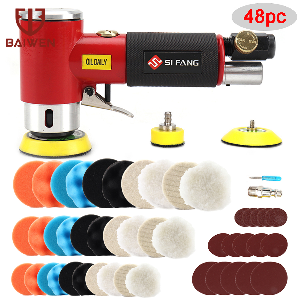 2'' 3'' Mini Orbital Air Sander Pneumatic Polisher 90 Degree & 1/2/3'' Polishing Sponge Pads For Auto Body Waxing Buffing Kit