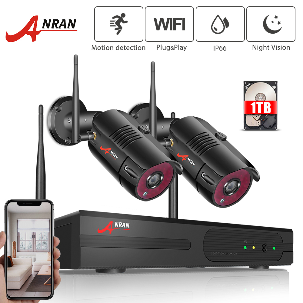 ANRAN 1080P Wireless CCTV Camera System 4CH NVR 2PCS Home WiFi Security Camera Kits Outdoor Video Surveillance System