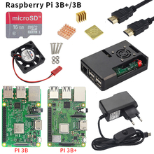 Ahududu Pi 3 Model B veya ahududu Pi 3 Model B artı kurulu + ABS kılıf + güç kaynağı Mini PC Pi 3B/3B + WiFi ve Bluetooth ile