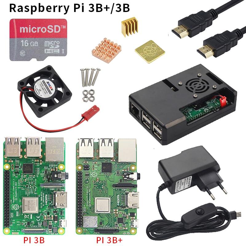 Raspberry pi 3 modelo b ou raspberry pi 3 modelo b mais placa + abs caso + fonte de alimentação mini pc pi 3b/3b + com wifi & bluetooth