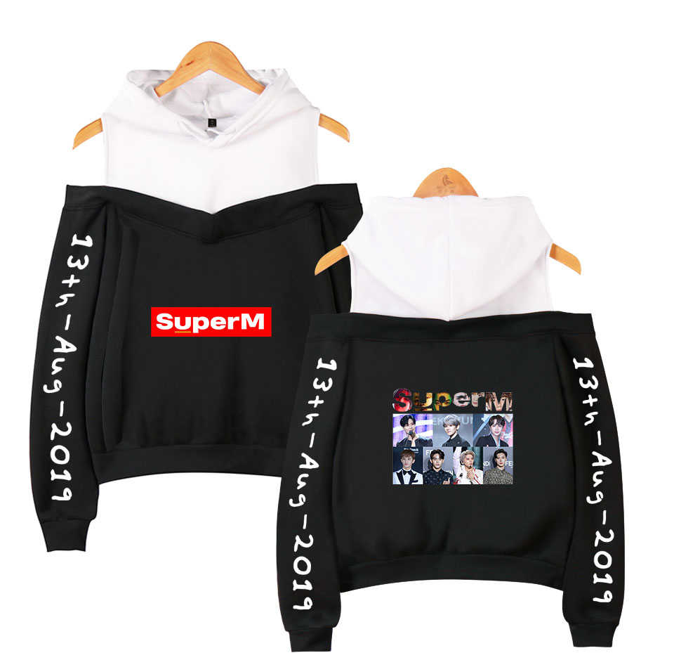 Nowy Kroean moda K-POP SuperM BAEKHYUN KAI Mark LUCAS TEN Taeyong bluza z kapturem w stylu kpop kobiety z długim rękawem Off ramię bluza z kapturem