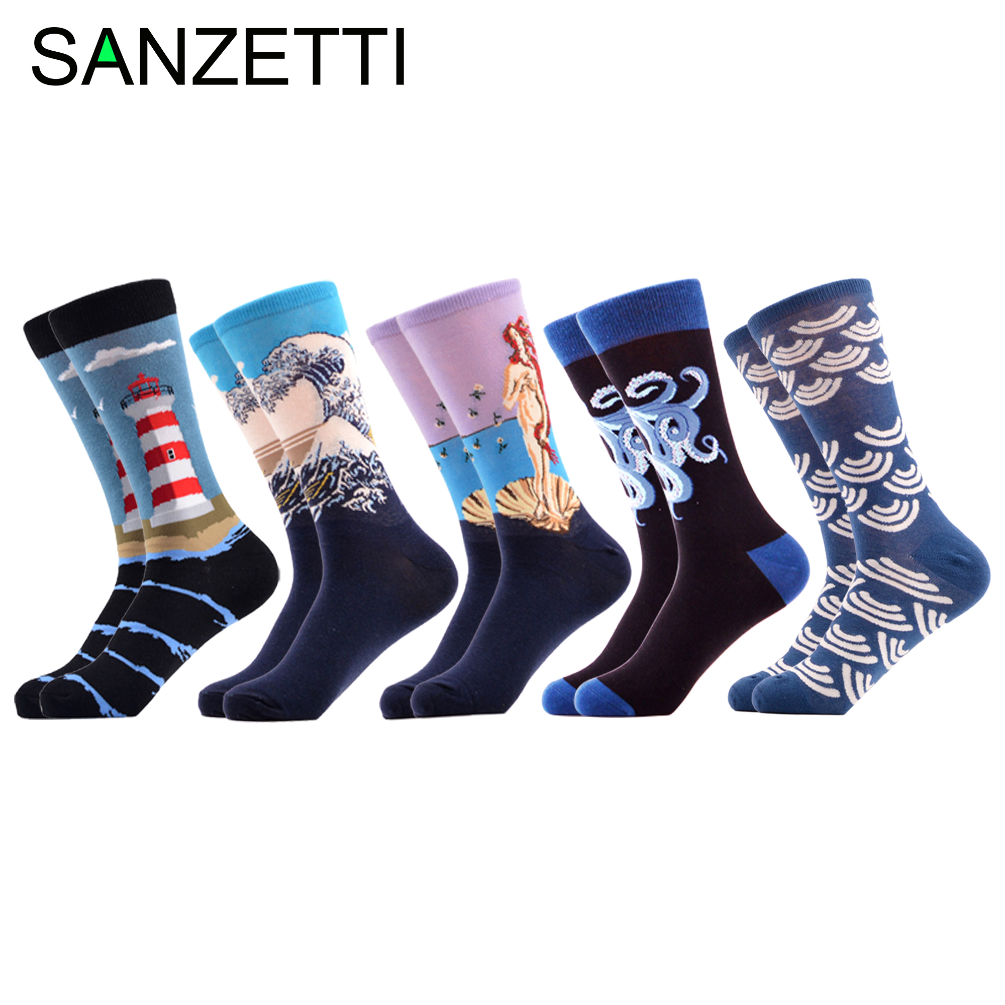 SANZETTI 5 Pairs Mens Casual Combed Cotton Crew Socks Personality Funny Happy Ocean Pattern Party Gifts Creative Dress Gym Socks