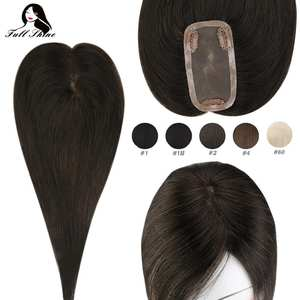 Hair-Piece Human-Hair-Extensions Mono-Base-Toupee Clip-On Women Crown for Full-Shine