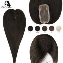 Полного блеска волос Топпер клип на кусок чистого цвета машина Remy человеческих 12*6 см Корона для женщин моно база парик