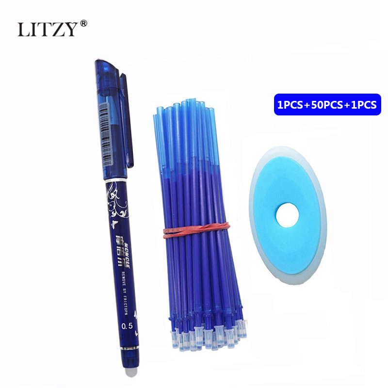 52Pcs/lot 0.5mm Erasable Pen Refill Set Washable Handle Blue Black Red Ink Gel Pen For School Office Writing Supplies Stationery