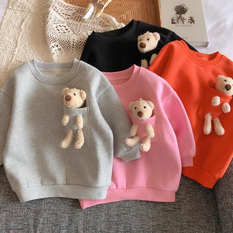 2021 Autumn Winter New Arrival Girls Fashion Bear T Shirt Kids Candy Color Warm Fleece Tops  Kids Clothes 1